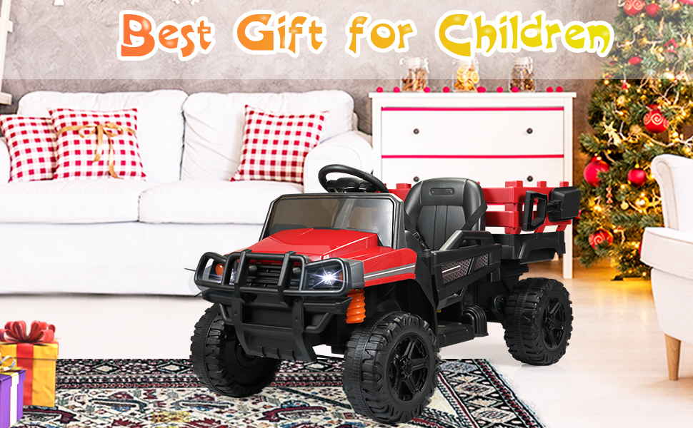 12V Electric Truck for Kids with Remote Control Ride On Toy with Trailer, Red 14 4
