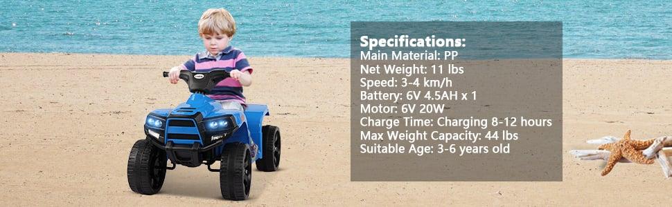 Four Wheeler Electirc Ride On Quad ATV For Kids, Blue 15 13