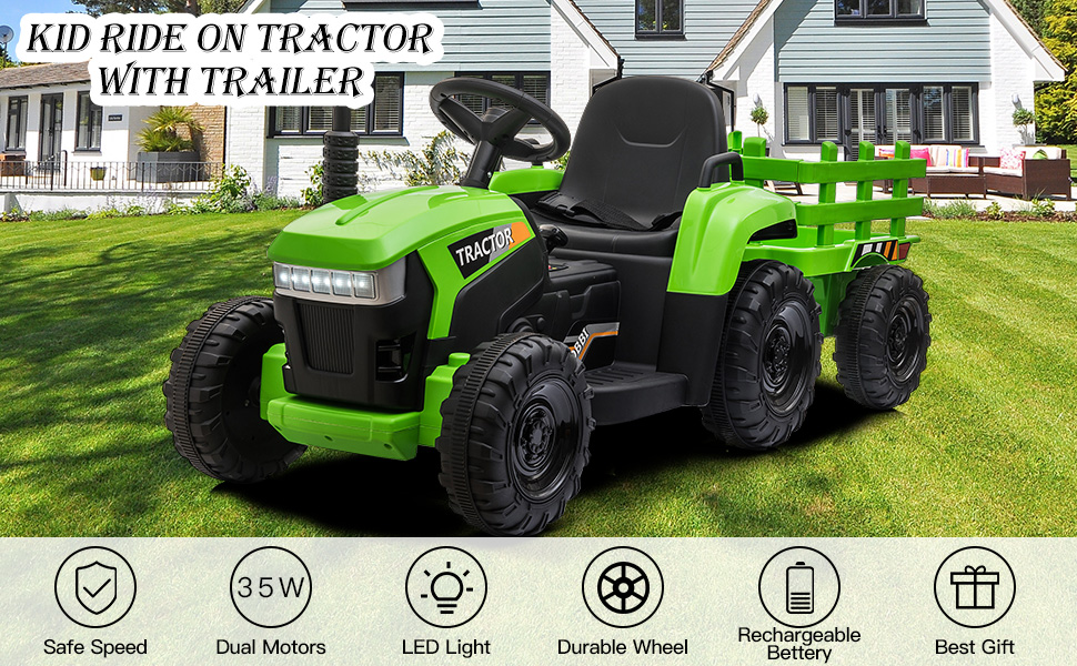 12V Electric Kids Ride-On Tractor with Trailer, Green 15 14