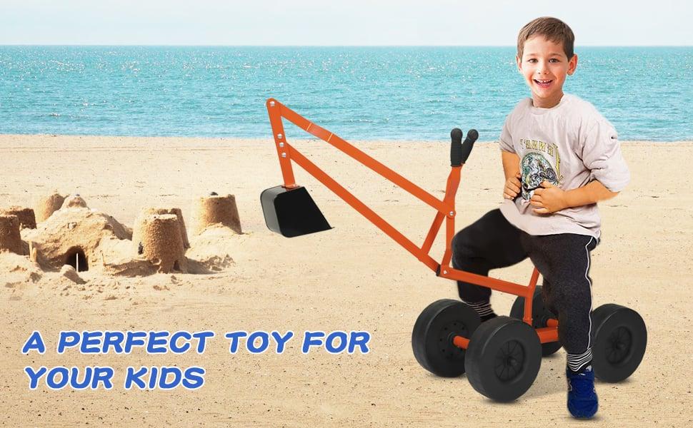 Kids Ride On Sandbox Digger Toys Little Sandbox Excavator for Boys and Girls, Orange 15 2