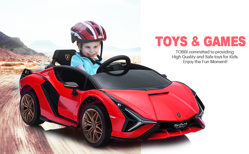 12V Lamborghini Sian Electric Kids Ride On Car with Remote Control, Red 15 3