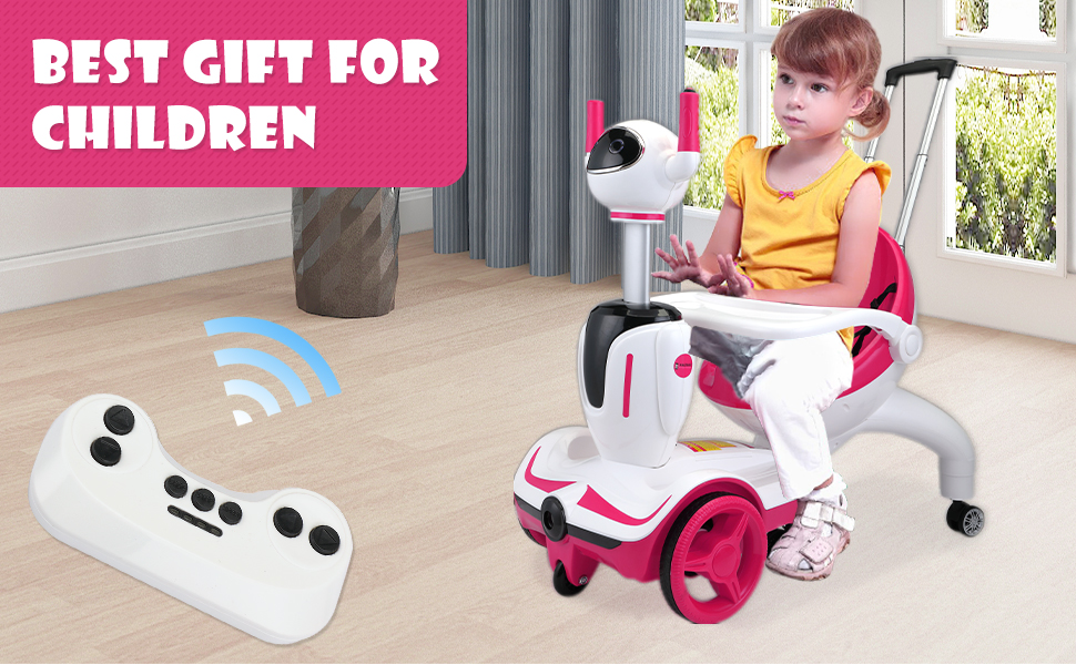 Three-in-one Robot Kids Electric Buggy With Remote Control & Baby Carriages, Rose Red + White 15 5