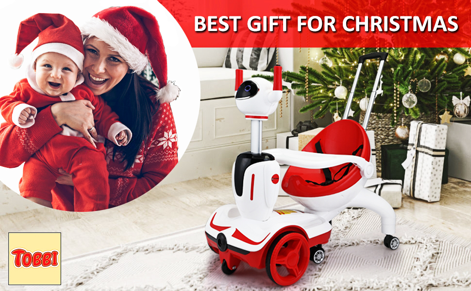 Three-in-one Robot Kids Electric Buggy With Baby Carriages, Red + White 15
