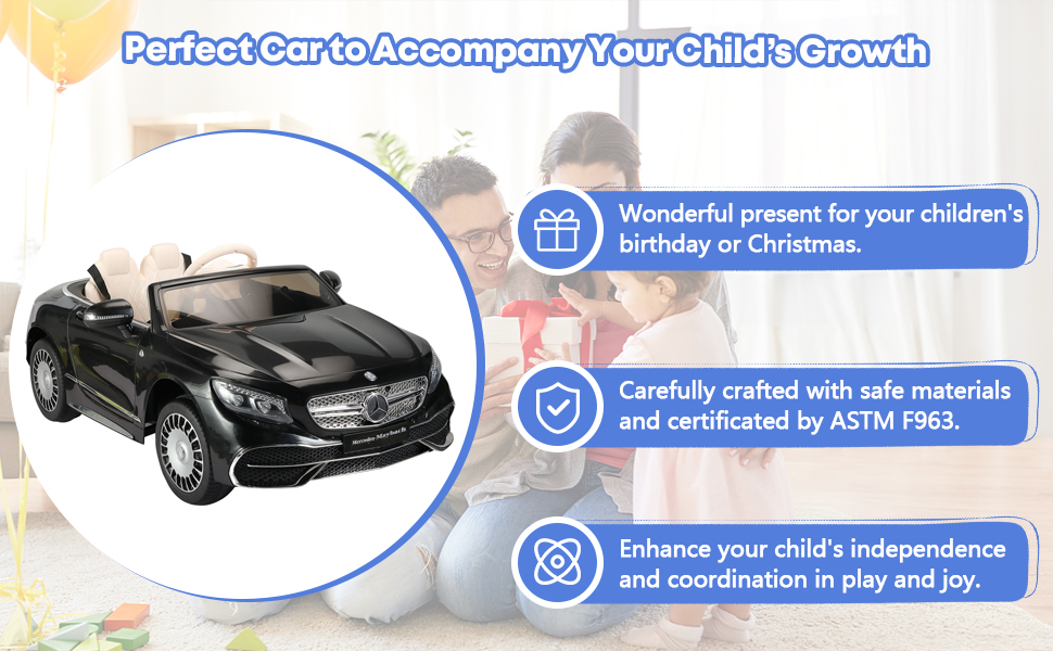 TOBBI 12V Ride on Car with Remote Control, Mercedes-Maybach S650 Electric Ride on Vehicles Cars for Kids w/ MP3 Bluetooth, Black 16 1