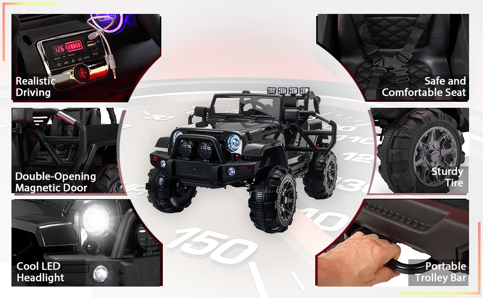 Kid's Truck Toy Ride on Jeep with Remote Control 18 1