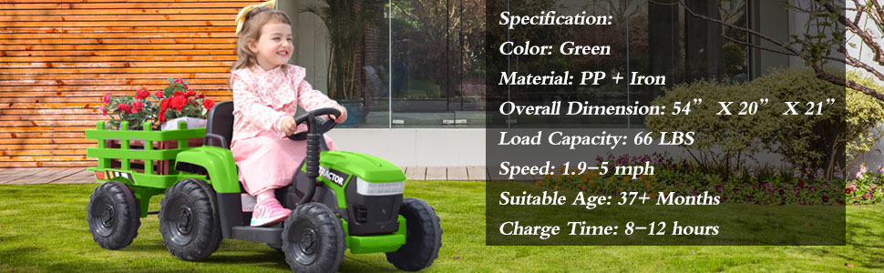 12V Electric Kids Ride-On Tractor with Trailer, Green 18 3