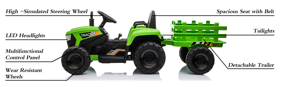 12V Electric Kids Ride-On Tractor with Trailer, Green 19 3