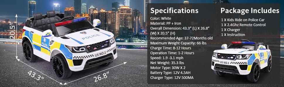 12V Kid Ride on Police Car, White 1d187f16 5df2 4729 a8bc 9b92f453be15. CR00970300 PT0 SX970 V1