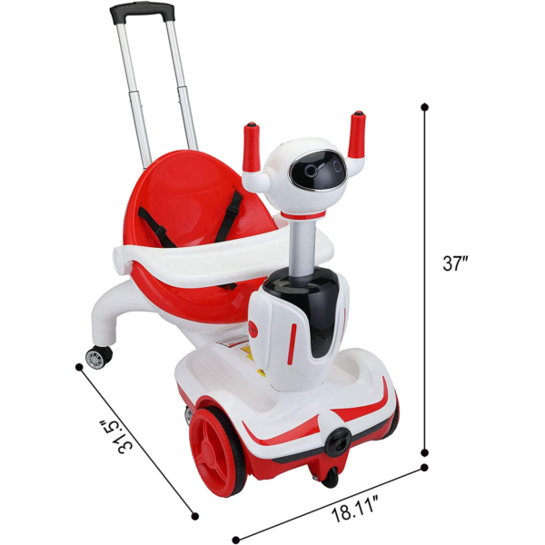 Three-in-one Robot Kids Electric Buggy With Baby Carriages, Red + White 2 1