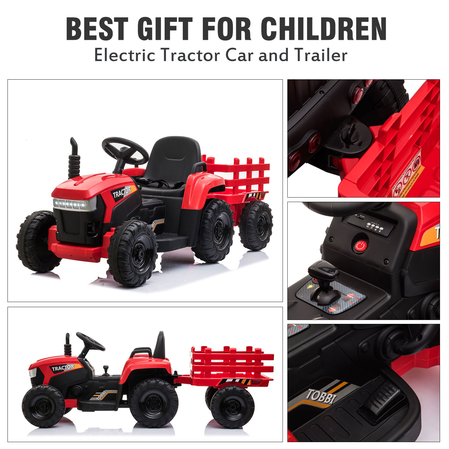 12V Electric Kids Ride-On Tractor with Trailer, Red 2 10