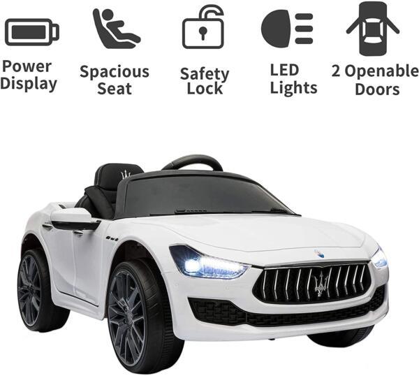 Maserati Kids Car 12V Ride On With Remote, White 2 100