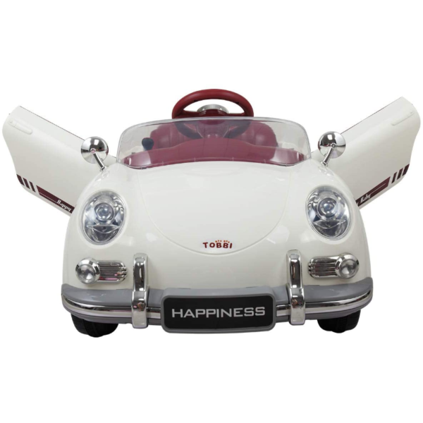 Vintage Style Battery Powered Kids Ride on Car with Remote Control, White 2 11