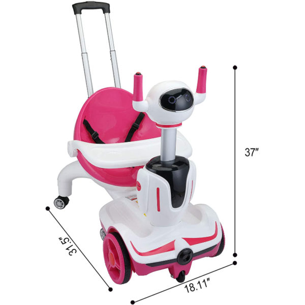 Three-in-one Robot Kids Electric Buggy With Remote Control & Baby Carriages, Rose Red + White 2 12