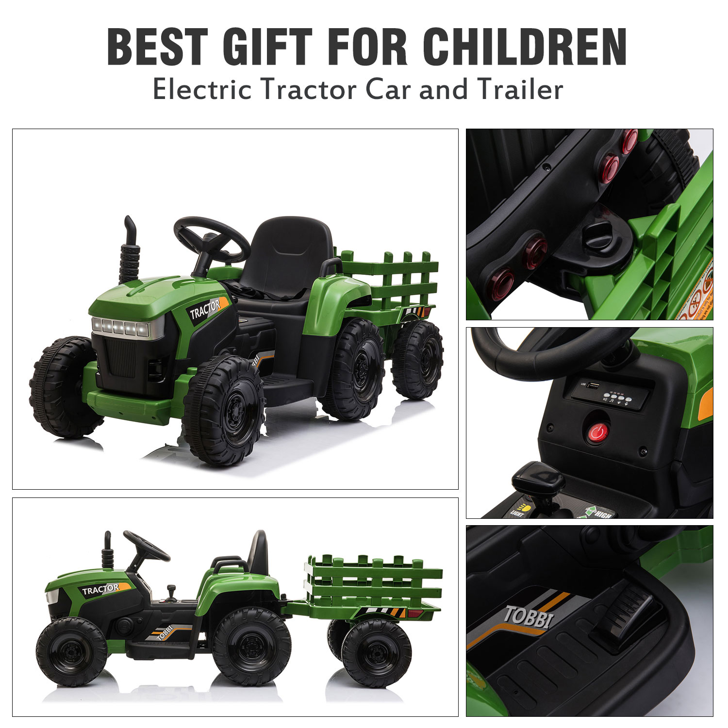12V Electric Kids Ride-On Tractor with Trailer, Dark Green 2 12