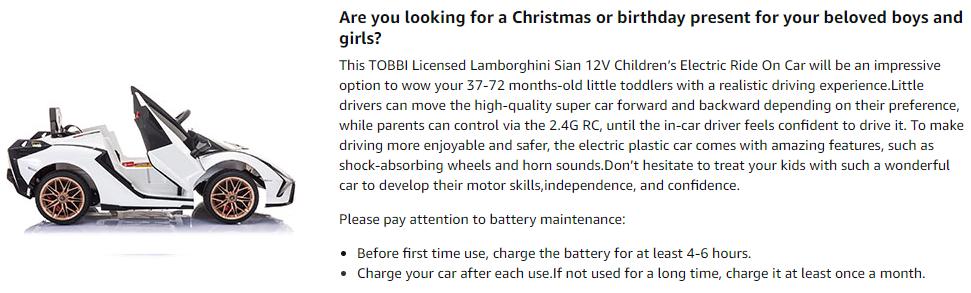 Licensed Lamborghini Sian 12V Children's Electric Ride On Car Toy 2 14