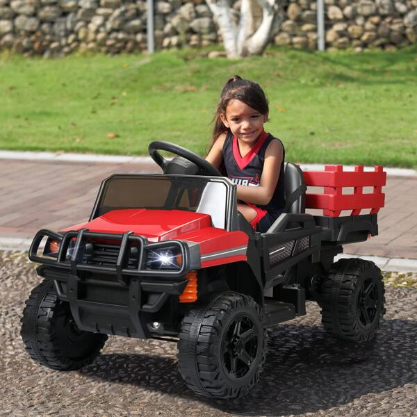 12V Electric Truck for Kids with Remote Control Ride On Toy with Trailer, Red 2 20