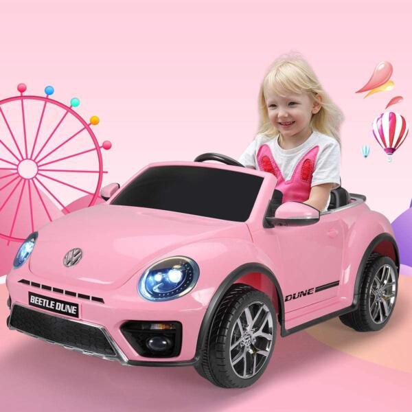 12V Licensed Volkswagen Beetle Dune Kids Electric Car with Remote Control, Pink 2 24