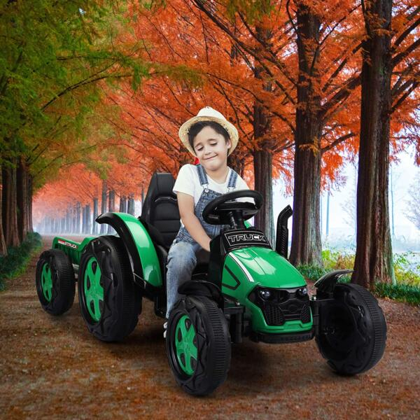 12V Electric Kids Ride on Tractor with Trailer for Boys and Girls, Jade Green 2 26
