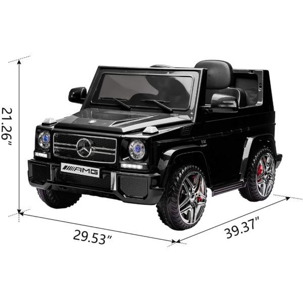 12V Benz AMG G63 Electric Ride On Car for Kids with Remote Control, Black 2 3