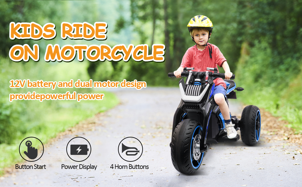 12V Kids Motorcycle Toy 3 Wheels Electric Trike for Boys and Girls 2 32