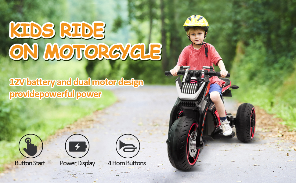 12V Kids Motorcycle Toy 3 Wheels Electric Trike 2 40