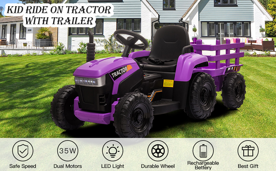 12V Battery-Powered Electric Tractor Kids Ride on Toy Gift, Purple 2 44