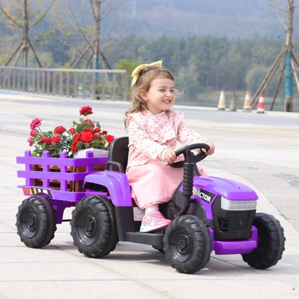 12V Battery-Powered Electric Tractor Kids Ride on Toy Gift, Purple 2 45