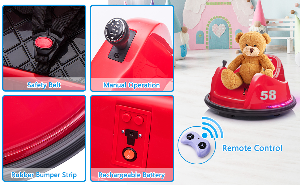 6V Electric Ride On 360 Spin Bumper Car for Kids with Remote Control, Red 2 46