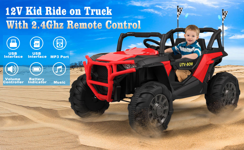 12V Toy Truck Battery Operated Ride-on for Toddlers 2 52