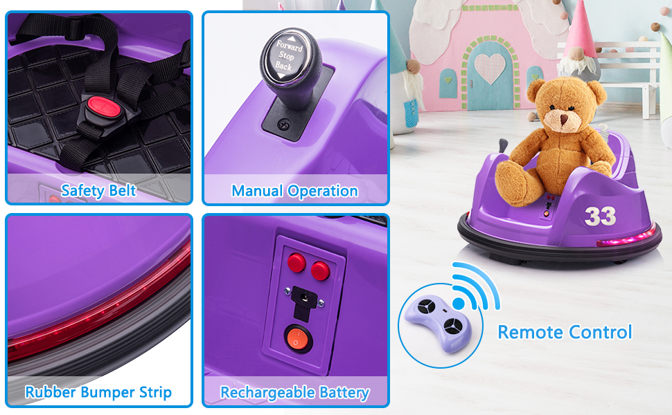 Kid's Electric Ride On 360 Spin Bumper Car with Remote Control, Purple 2 59