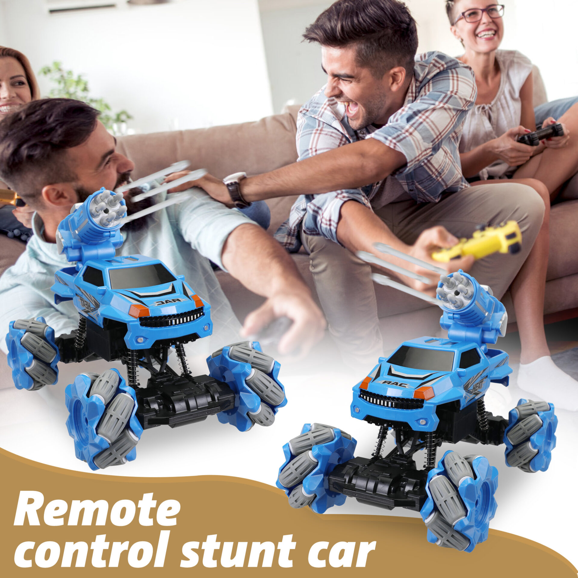 Gesture Sensing RC Stunt Car for Kids, Blue 2 6