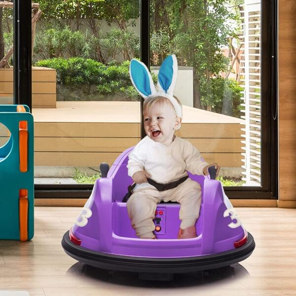 Kid's Electric Ride On 360 Spin Bumper Car with Remote Control, Purple 2 60