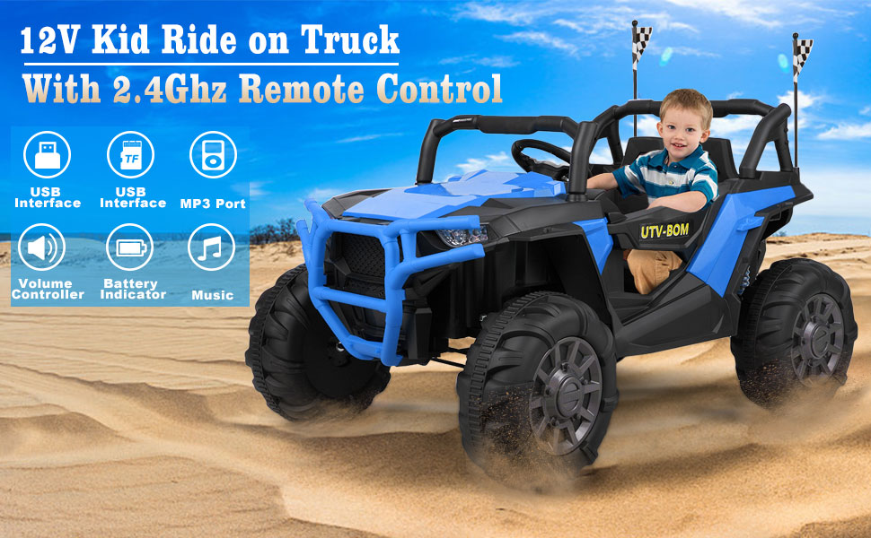 12V Powerful Kids Truck Ride on 2-Seater Battery Car for Child 2 62