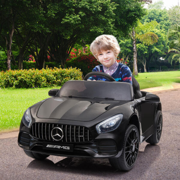12V Mercedes AMG GT Ride On Car Kids Electric Cars with Remote, Black 2 77