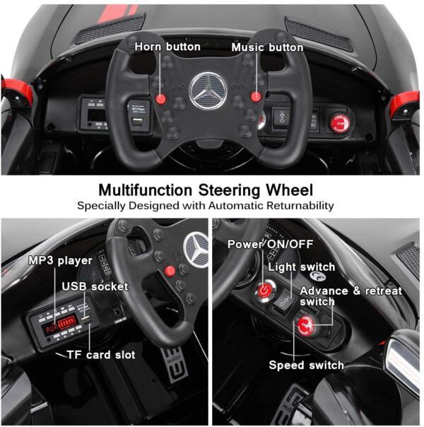 12V Electric Licensed Mercedes Benz AMG GT Kid Ride on Car, Black 2 80