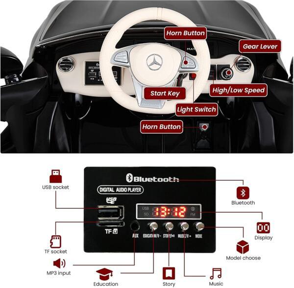 12V Mercedes Kids Ride on Car with Remote Conrtol, Black 2 85