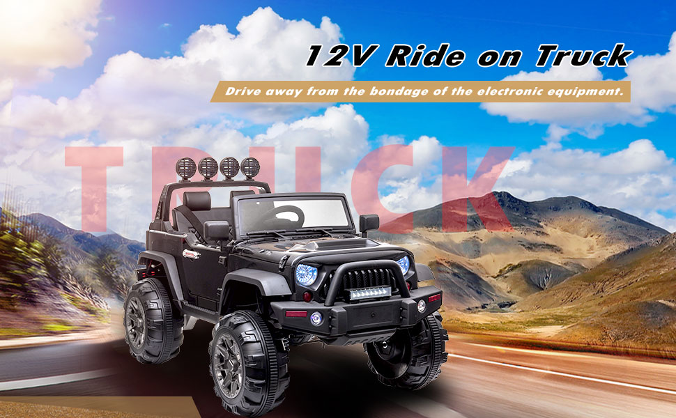 12V Battery Operated Kids Ride On Truck with Remote Control, Black 2 87