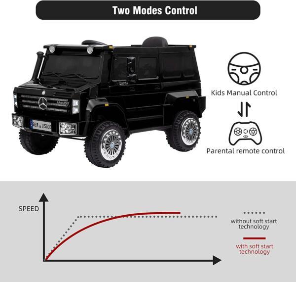 6V Mercedes Benz Unimog U500 Kids Ride on SUV Car with Remote Control, Black 2 89