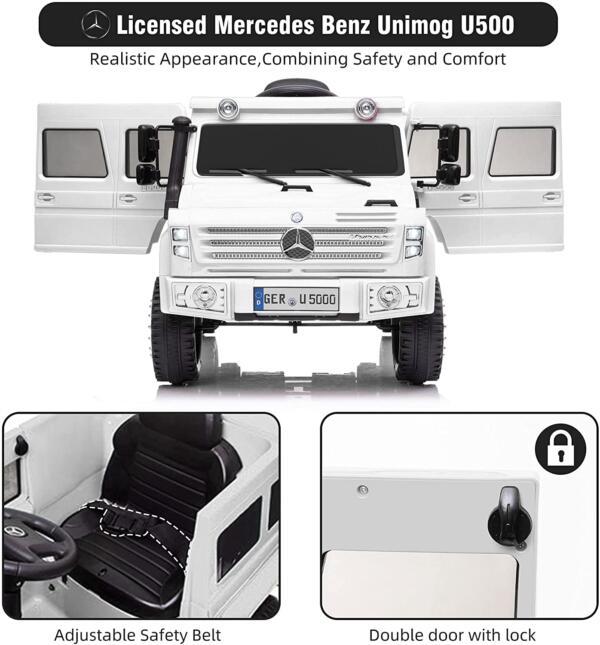 6V Mercedes Benz Unimog U500 Kids Ride on SUV Car with Remote Control, White 2 92