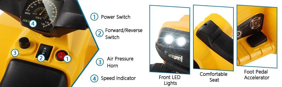 Four Wheeler Electirc Ride On Quad ATV For Kids, Yellow 20 2