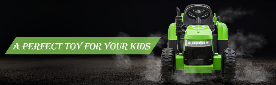 12V Electric Kids Ride-On Tractor with Trailer, Green 20 3