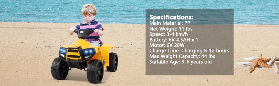 Four Wheeler Electirc Ride On Quad ATV For Kids, Yellow 21 2