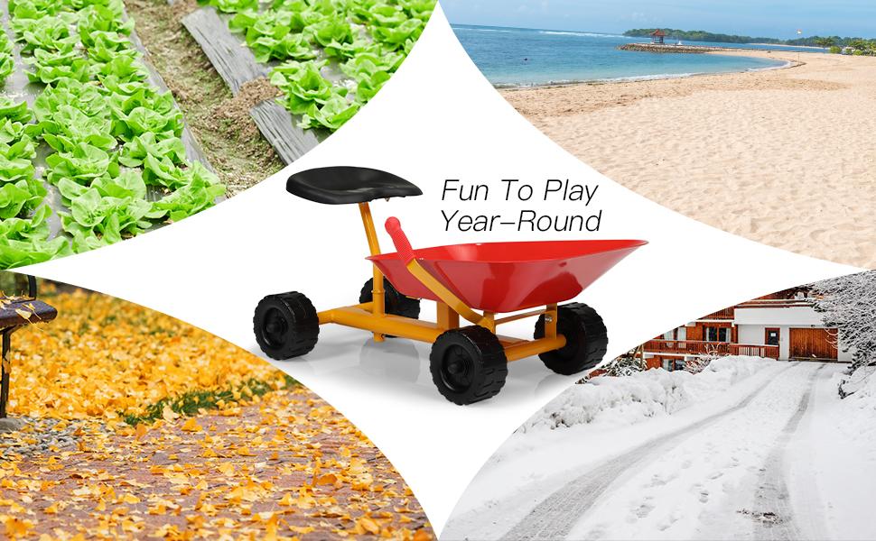 Outdoor Kids Play Wheelbarrow, Red 24 1