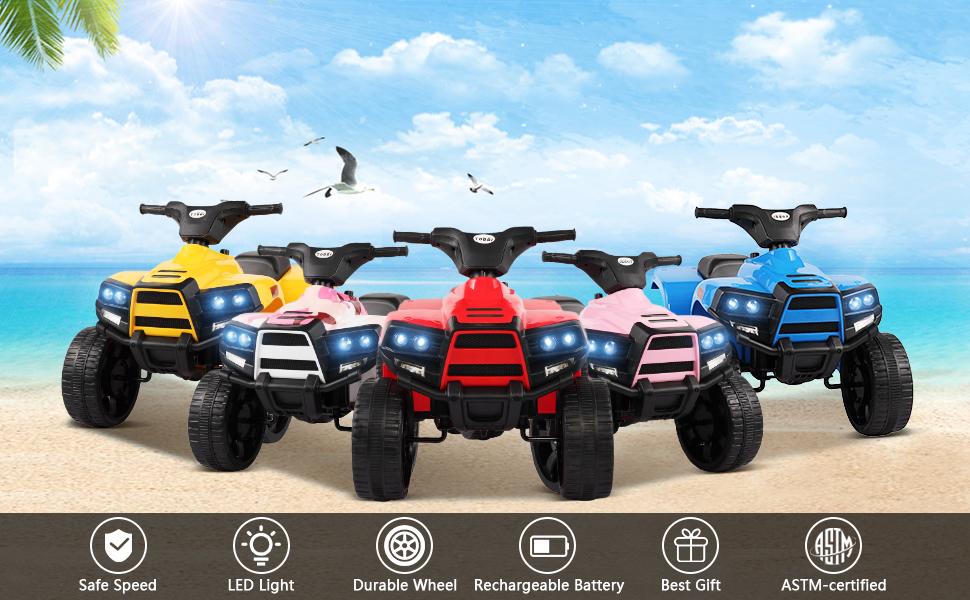 Four Wheeler Electirc Ride On Quad ATV For Kids, Red 25