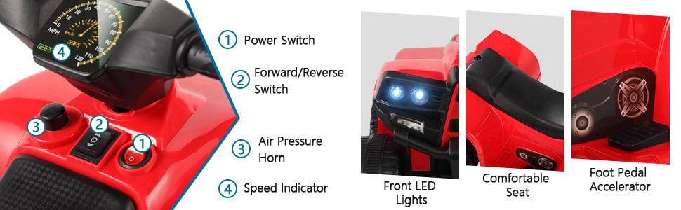 Four Wheeler Electirc Ride On Quad ATV For Kids, Red 26