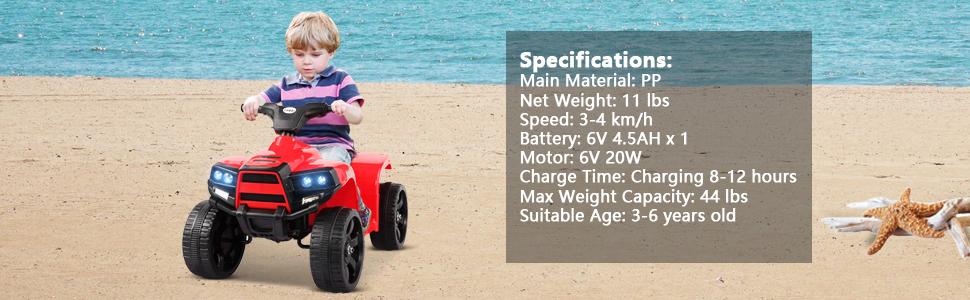 Four Wheeler Electirc Ride On Quad ATV For Kids, Red 27