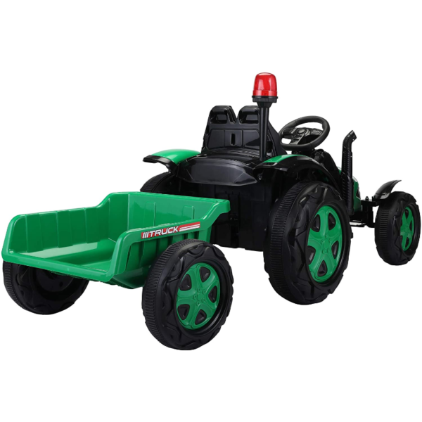 12V Electric Kids Ride on Tractor with Trailer for Boys and Girls, Jade Green 3 11