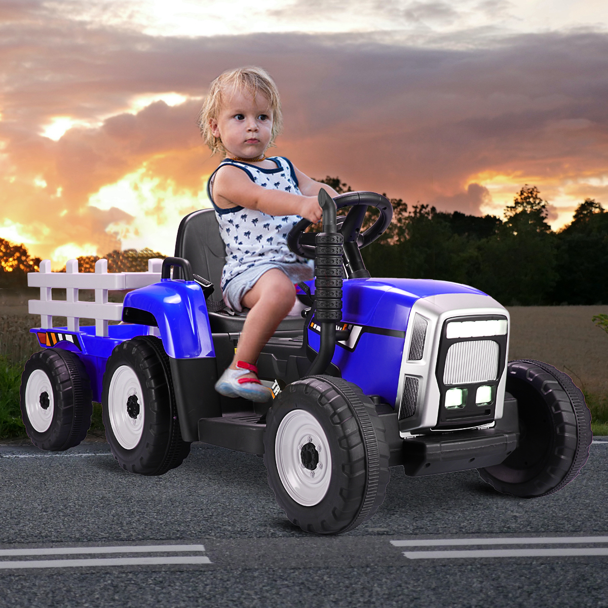 12V Electric Kids Ride-On Tractor with Trailer, Blue 3 12
