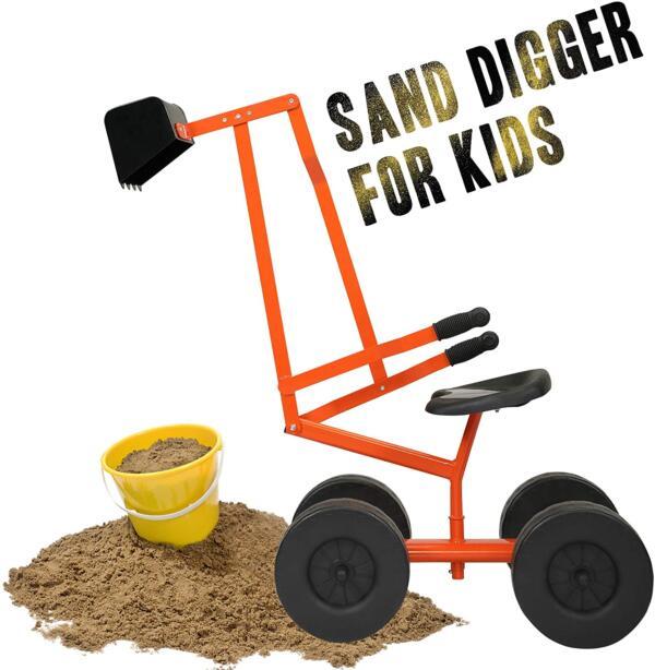 Kids Ride On Sandbox Digger Toys Little Sandbox Excavator for Boys and Girls, Orange 3 14
