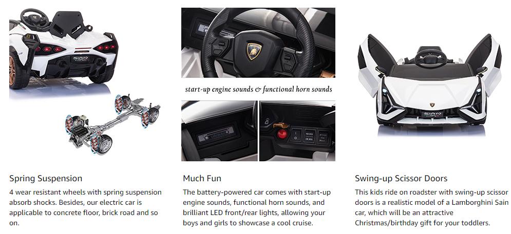 Licensed Lamborghini Sian 12V Children's Electric Ride On Car Toy 3 14